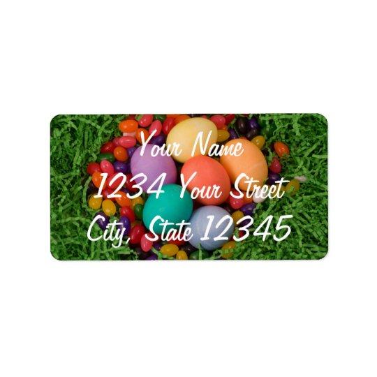 Påskbasket - vår färgade ägggelébönor adressetikett
