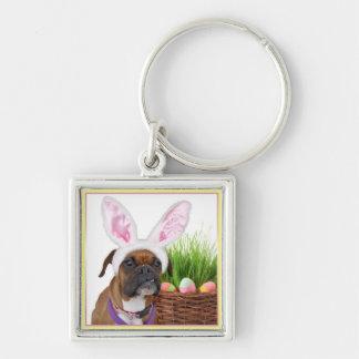 Påskboxarehund Fyrkantig Silverfärgad Nyckelring
