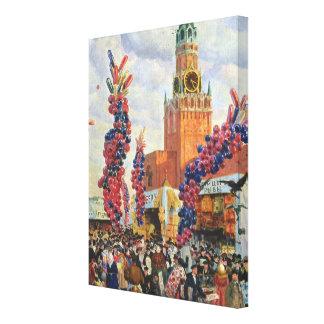 Påsken marknadsför på Moscowen Kremlin, 1917 Canvastryck