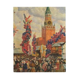 Påsken marknadsför på Moscowen Kremlin, 1917 Trätavla