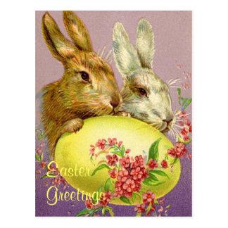 Påskhare och äggvintagevykort vykort