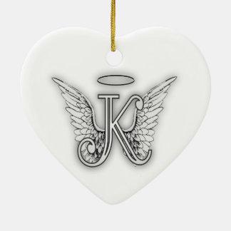 Påskyndar det initiala brev för ängelalfabet K Julgransprydnad Keramik