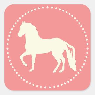Paso Fino hästSilhouette Fyrkantigt Klistermärke