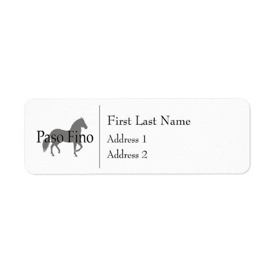 Paso Fino Silhouettetext 1 Returadress Etikett