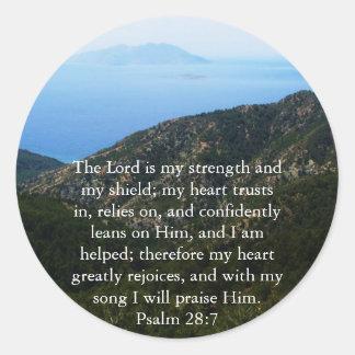 Passage för bibel för Psalm28:7 härlig Runt Klistermärke