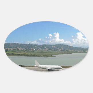passagerareflygplan ovalt klistermärke