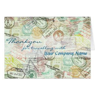 Passfrimärket reser hälsning Kort-Tackar dig Hälsningskort