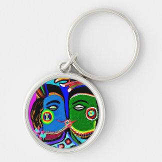 Passionerad kyss - stil för konst för rund silverfärgad nyckelring