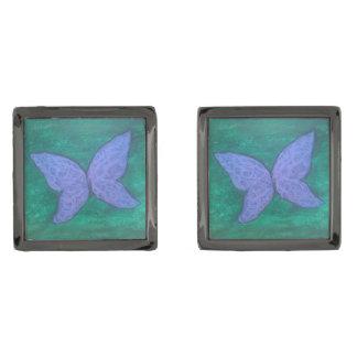 Passionerad stilfull purpurfärgad fjärilsvingar på manschetterknappar med metallgråfinish