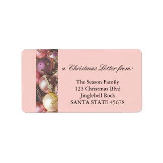 Pastell smyckar julbrev adressetikett