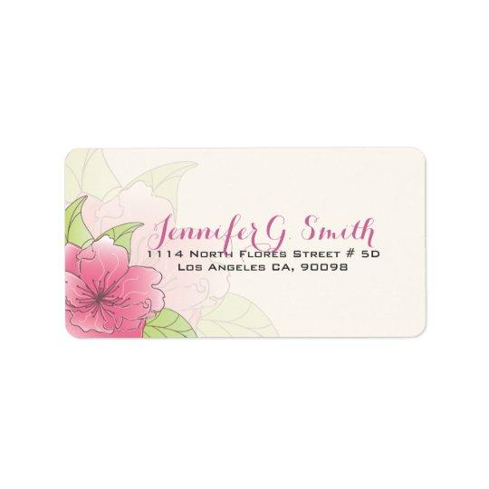 Pastellfärgad blom- bröllopetikett för rosor & för adressetikett