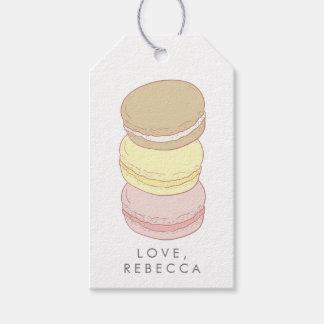 Pastellfärgad fransk Macarons Presentetikett