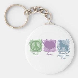 Pastellfärgad fred, kärlek och Bernese berghundar Rund Nyckelring