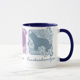 Pastellfärgad fred, kärlek och Kooikerhondjes Mugg