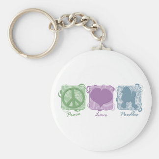 Pastellfärgad fred, kärlek och pudlar nyckelringar