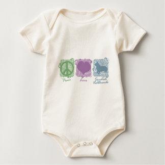 Pastellfärgad fred, kärlek och svenska Vallhunds Body För Baby