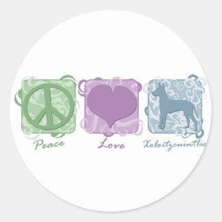 Pastellfärgad fred, kärlek och Xoloitzcuintlis Runt Klistermärke