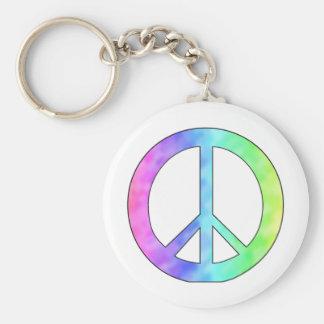 Pastellfärgad fredstecken rund nyckelring