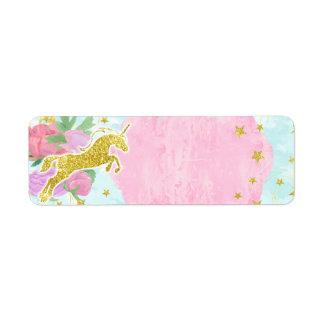 Pastellfärgad guld- Unicornflickababy shower Returadress Etikett