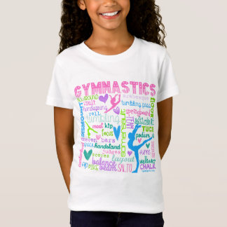 Pastellfärgad gymnastikordtypografi t-shirts