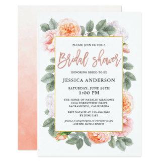 Pastellfärgad Juliet rovattenfärg blom- brud- 12,7 X 17,8 Cm Inbjudningskort