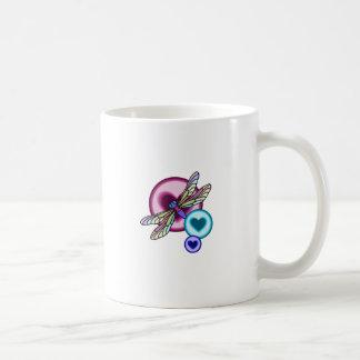 Pastellfärgad kulör slända med blåttrosor och kaffemugg