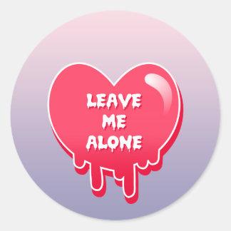 pastellfärgad melty hjärta lämnar mig ensam runt klistermärke
