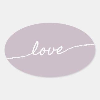 Pastellfärgad Minimalist typografisk design för Ovalt Klistermärke
