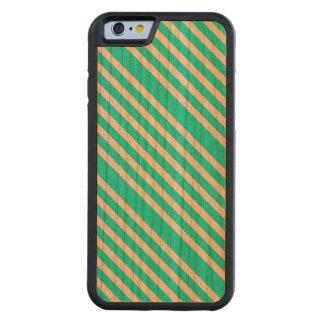 PASTELLFÄRGAD MINT! ~ (för aquamarine görad randig Carved Körsbär iPhone 6 Bumper Skal