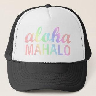 Pastellfärgad regnbågeAloha Mahalo typografi Truckerkeps
