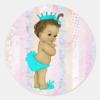 Pastellfärgad regnbågePrincess baby shower för Runt Klistermärke