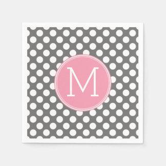 Pastellfärgad rosa & grå polka dots med den papper servetter