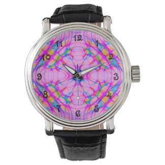 Pastellfärgad rosa Kaleidoscopemönsterabstrakt Armbandsur