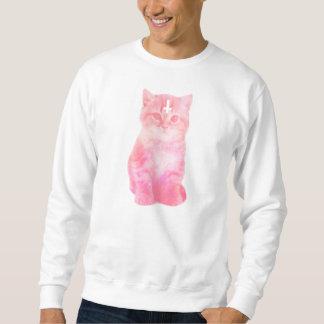 Pastellfärgad rosa katttröja långärmad tröja