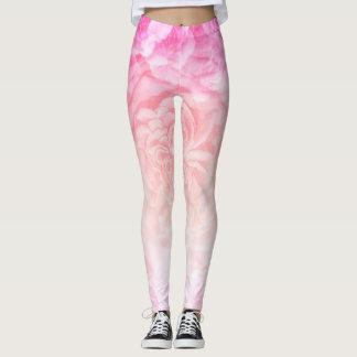 Pastellfärgad rosa Ombre blomma Leggings