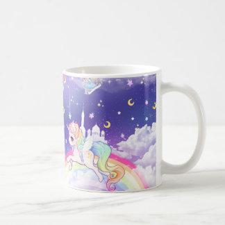Pastellfärgad unicorn för gullig kawaii med kaffemugg