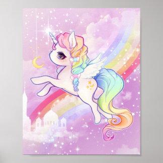 Pastellfärgad unicorn för gullig kawaii med poster