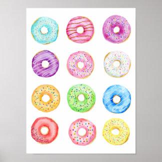 Pastellfärgade färgdonuts för vattenfärg poster