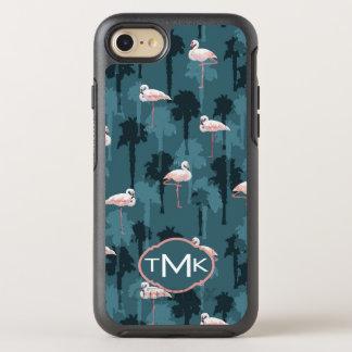 Pastellfärgade Flamingos på Monogram för kricka | OtterBox Symmetry iPhone 7 Skal