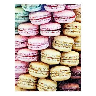 Pastellfärgade Parisian Macarons Vykort