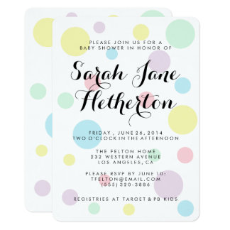 Pastellfärgade polka dotsbaby showerinbjudningar 11,4 x 15,9 cm inbjudningskort