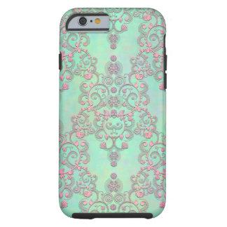 Pastellfärgade rosor över damast för tough iPhone 6 case