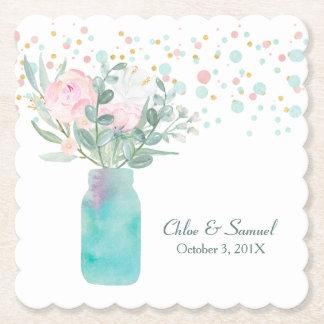 Pastellfärgat bröllop för konfettiMasonburk Underlägg Papper