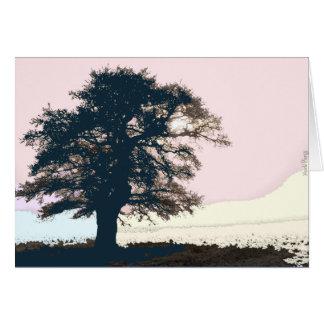 Pastellfärgat dimmigt trädkort hälsningskort