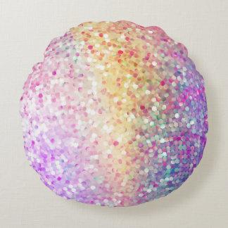 Pastellfärgat färgFauxglitter & Sparkless tryck Rund Kudde