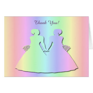Pastellfärgat pridetackkort för ett lesbiskt hälsningskort