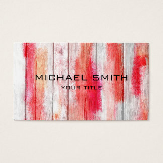 Pastellfärgat rött på trä #2 visitkort
