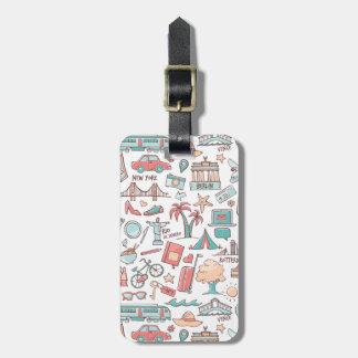 Pastellfärgat turist- mönster bagagebricka