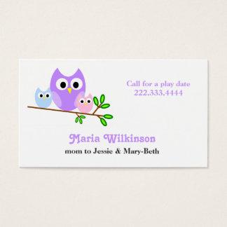 Pastellfärgat ugglamammakort visitkort