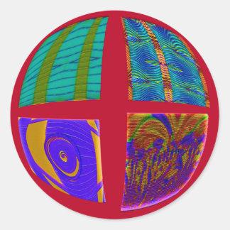 patchworken cirklar rött runt klistermärke